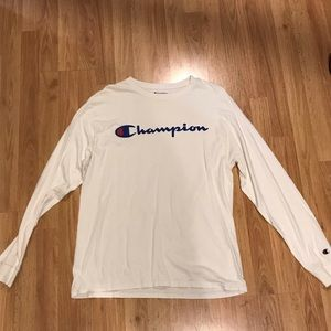 Champion white long sleeve logo shirt